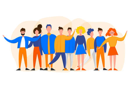 Men and women in different poses sitting and standing isolated on a white background. Cute flat style. Vector illustration. 矢量图像