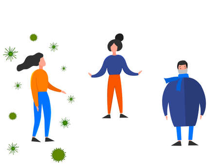Two meter safe distance between people during Coronavirus 2019-nCoV outbreak isolated on a white background. Pandemic epidemiology concept. Vector flat illustration. Illustration