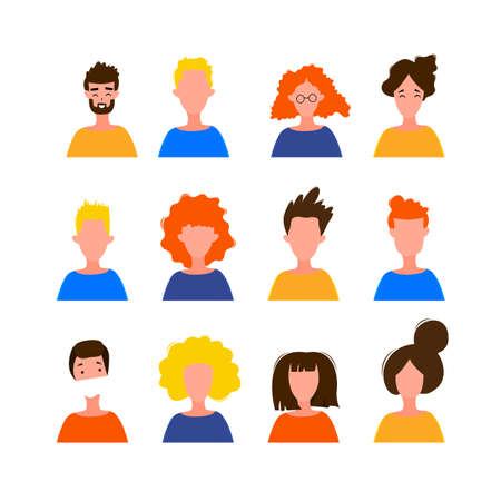Portraits of women and men in a simple style isolated on a white background. Cute flat style. Vector illustration. 矢量图像