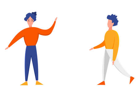 Man and woman standing with arms outstretched isolated on a white background. Cute flat style. Vector illustration