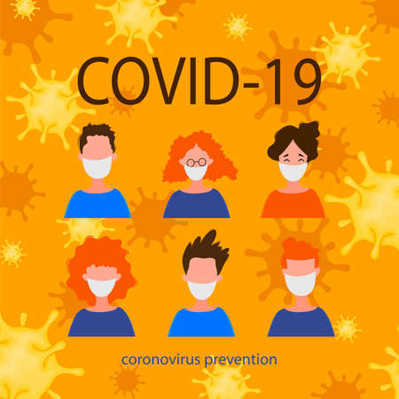 Portraits of masked men and women isolated on a white background. Coronavirus 2019-nCoV outbreak. Pandemic epidemiology concept. Vector flat illustration. Illustration