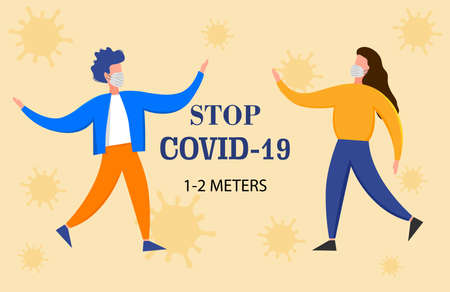 People in medical masks gesturing with hands isolated on a white background. Coronavirus 2019-nCoV outbreak. Pandemic epidemiology concept. Vector flat illustration Illustration