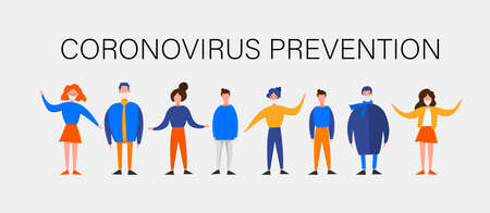 Template for the Novel Coronavirus 2019-nCoV outbreak with a group of people isolated on a white background. Pandemic epidemiology concept. Vector flat illustration.