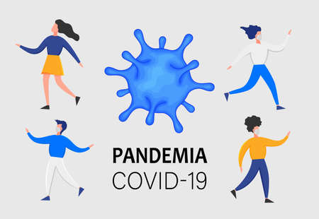 People in medical masks gesturing with hands isolated on a white background. Coronavirus 2019-nCoV outbreak. Pandemic epidemiology concept. Vector flat illustration 矢量图像