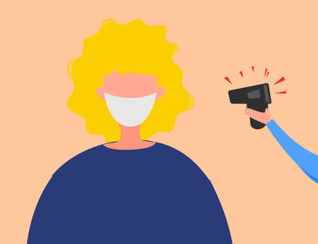 Measuring temperature for a person to detect Coronavirus 2019-nCoV isolated on a white background. Pandemic epidemiology concept. Vector flat illustration