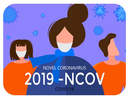 Template for the Novel Coronavirus 2019-nCoV outbreak with a group of people. Pandemic epidemiology concept. Vector flat illustration