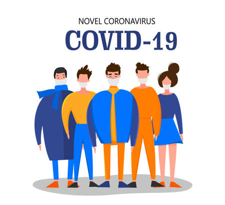 Template for the Novel Coronavirus 2019-nCoV outbreak with a group of people isolated on a white background. Pandemic epidemiology concept. Vector flat illustration