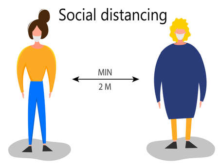 Two meter safe distance between people during Coronavirus 2019-nCoV outbreak isolated on a white background. Pandemic epidemiology concept. Vector flat illustration 矢量图像