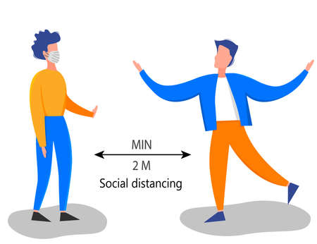 Two meter safe distance between people during Coronavirus 2019-nCoV outbreak isolated on a white background. Pandemic epidemiology concept. Vector flat illustration Illustration