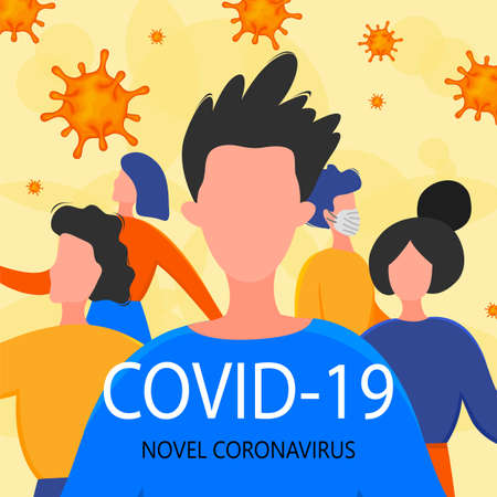Template for the Novel Coronavirus 2019-nCoV outbreak with a group of people. Pandemic epidemiology concept. Vector flat illustration. Illustration