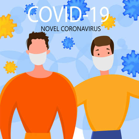 Template for the Novel Coronavirus 2019-nCoV outbreak with a group of people. Pandemic epidemiology concept. Vector flat illustration. 矢量图像