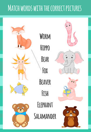 Children's educational game for matching the object and the word. Cartoon style. Vector illustration