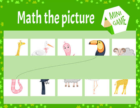 Macth the picture mini game for children. Cartoon style. Vector illustration