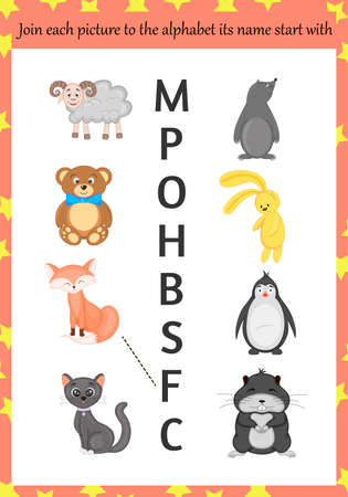 Images for learning the alphabet for kids. Cartoon style. Vector illustration Illustration