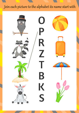 Images for learning the alphabet for kids. Cartoon style. Vector illustration 矢量图像