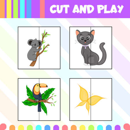 Children's game cut and play with pictures of cute animals. Cartoon style. Vector illustration