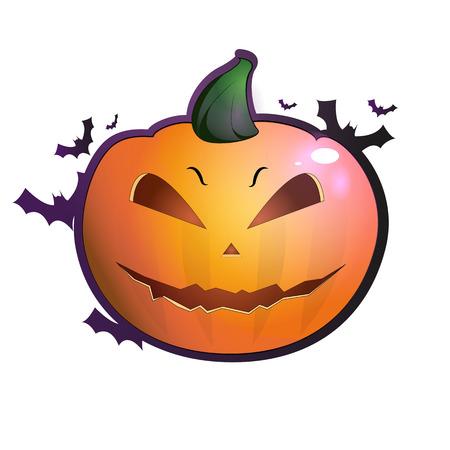 Set of Halloween pumpkins, funny faces. Autumn holidays. Vector illustration