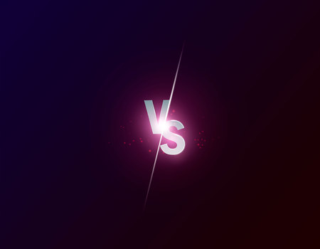 Blue neon versus logo vs letters for sports and fight competition. Battle vs match, game concept competitive vs. Vector illustration