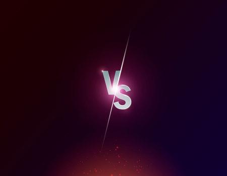 Neón azul versus logo vs letras para deportes y competencia de lucha. Batalla vs partido, concepto de juego competitivo vs ilustración vectorial