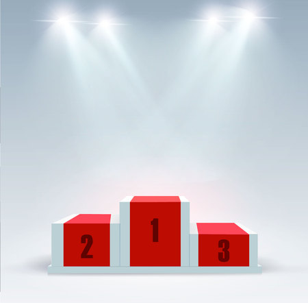White winners podium with red carpet vector illustration Illustration