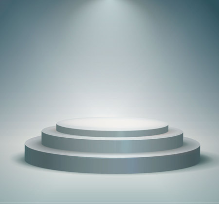 Round podium, pedestal or platform illuminated by spotlights on white background. Stage with scenic lights. Vector illustration. 矢量图像