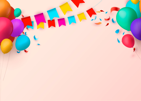 Celebrate banner. Party flags with confetti. Vector illustration. eps 10