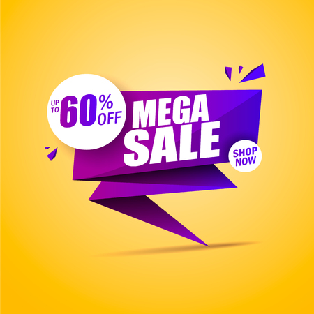 Limited Offer Mega Sale banner. Sale poster. Big sale, special offer, discounts, 60 off. Vector illustrationeps 10