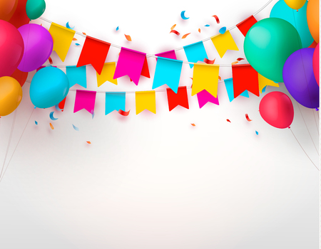Celebrate banner Party flags with confetti. Vector illustration. eps 10 Illustration