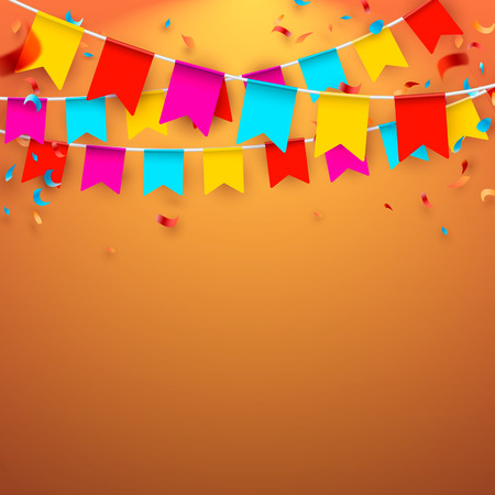 Celebrate banner. Party flags with confetti and balloons. Vector illustration.