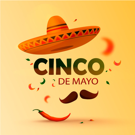 Beautiful vector illustration with design for Mexican holiday 5 may Cinco De Mayo. Vector template. Illustration eps 10 Illustration