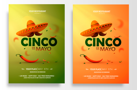 Cinco De Mayo poster design. Marketing, advertising or invitation template with copy space for your holiday celebration at a bar, restaurant, other venue. vector. Vettoriali