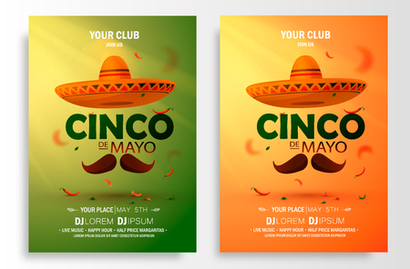 Cinco De Mayo poster design. Marketing, advertising or invitation template with copy space for your holiday celebration at a bar, restaurant, vector.  イラスト・ベクター素材