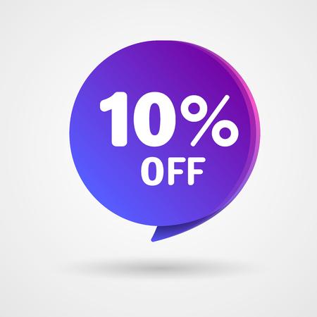 Sconto del 10% adesivo. Vendita tag blu e viola isolato illustrazione vettoriale. Etichetta del prezzo di offerta di sconto, simbolo di sconto del prezzo di vettore.