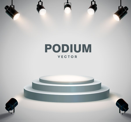Rundes Podium von Scheinwerfern beleuchtet. Stock Vektor-Illustration. eps 10 Vektorgrafik