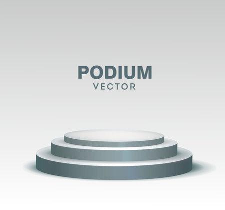 Rundes Bühnenpodium isoliert auf weißem Hintergrund. Vektor-Illustration. eps 10