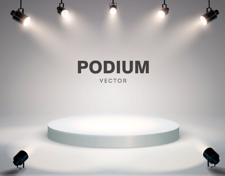 Round podium illuminated by searchlights. Stock vector illustration. eps 10