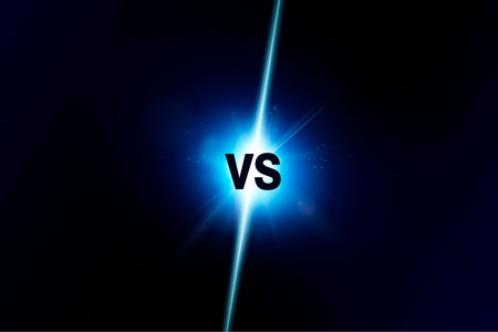 Blue neon versus logo vs letters for sports and fight competition. Battle vs match, game concept competitive vs. Vector illustration Banque d'images - 115854479