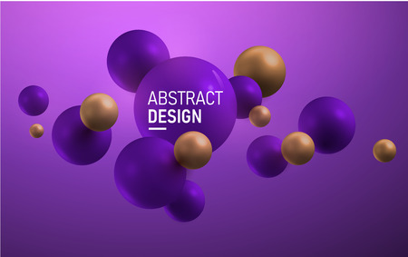 Purple and gold balls. Abstract vector illustration. Modern design