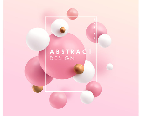 Gold, pink and white 3D balls. Vector illustration. Abstract modern design.