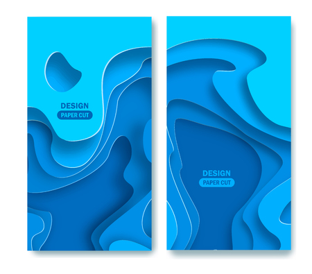 Vertical banners with 3D abstract blue background with paper cut shapes. Vector design layout for business presentations, flyers, posters and invitations. Colorful carving art eps 10