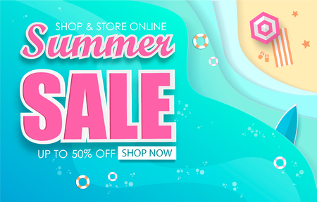 Summer Sale Typography Paper Folding Design eps 10