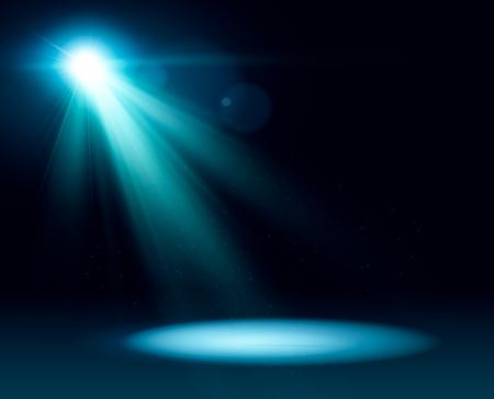 Illuminazione della scena, effetti di trasparenza su uno sfondo scuro scozzese. Illuminazione brillante con faretti.eps10 Vettoriali