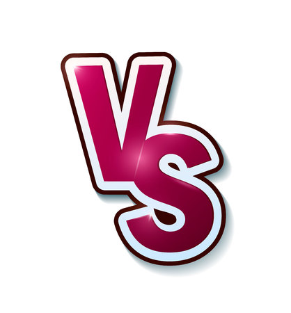 versus sign like opposition. concept of confrontation, together, standoff, final fighting. isolated on white background. VS. Vector illustration