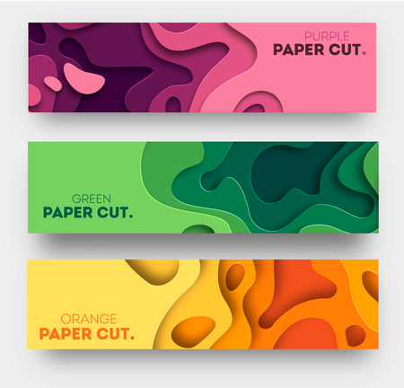 Horizontal banners with 3D abstract background, white paper cut shapes. Vector design layout for business presentations, flyers, posters and invitations. Carving art. eps 10