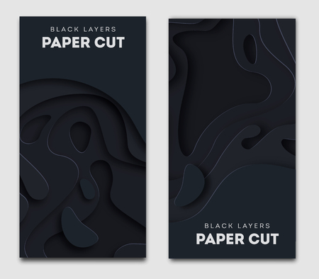 banners with 3D abstract background, white paper cut shapes. Vector design layout for business presentations, flyers, posters and invitations. Carving art. eps 10