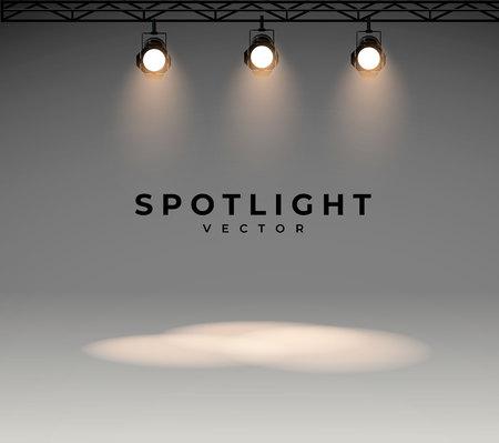 Faretti con luce bianca brillante brillante set vettoriale fase. Proiettore a forma di effetto illuminato, illustrazione del proiettore per l'illuminazione dello studio