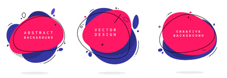 Set of modern abstract vector banners. Flat geometric shapes of different colors with black outline in memphis design style. Template ready for use in web or print design. eps 10 Ilustração