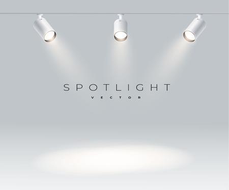 Spotlights with bright white light shining stage vector set. Illuminated effect form projector, illustration of projector for studio illumination eps 10 Illustration