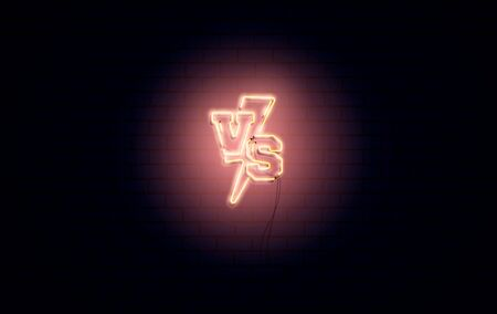 Versus 3d neon signs vector. Set of Versus symbol in realistic yellow neon style. Design template, night advertising. Battle vs match, game concept competitive vs