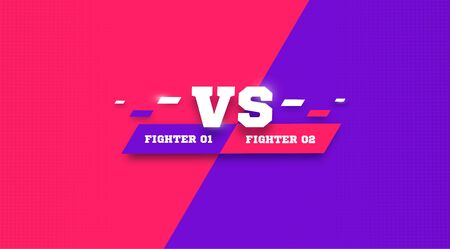 Versus screen in colorful background. Vs battle headline, conflict duel between Red and Blue teams. Confrontation fight competition. football, basketball, soccer match vector background template Ilustrace